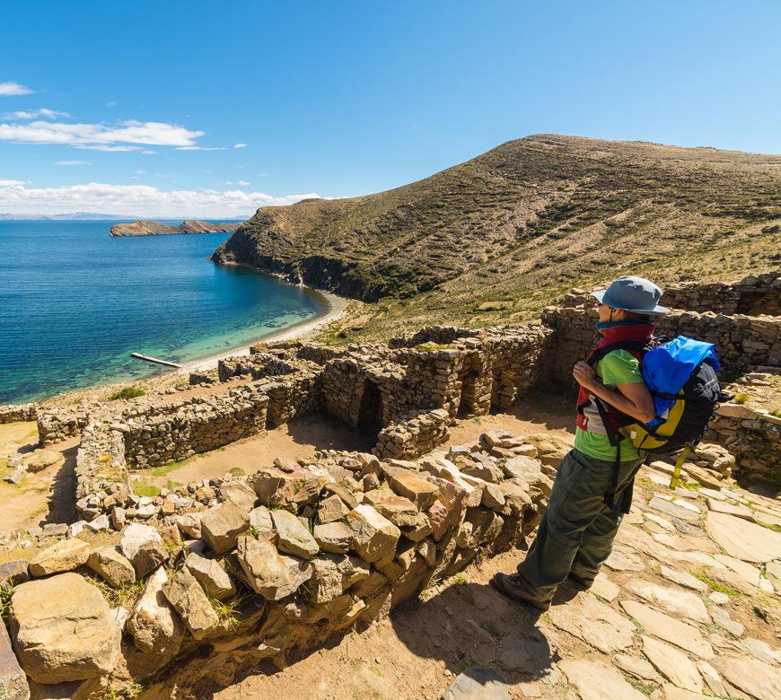 Bolivie Reizen Titicaca Meer Wandelaar Atacama Reizen